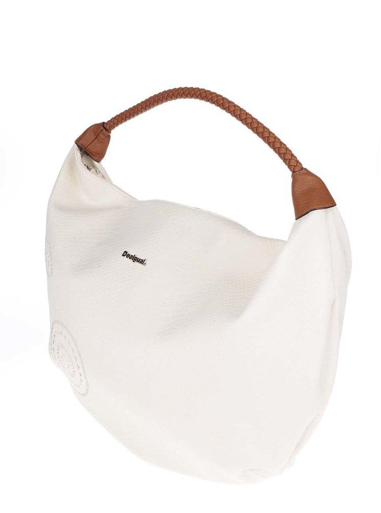 Krémová velká kabelka s hadím vzorem Desigual Calypso Avignon