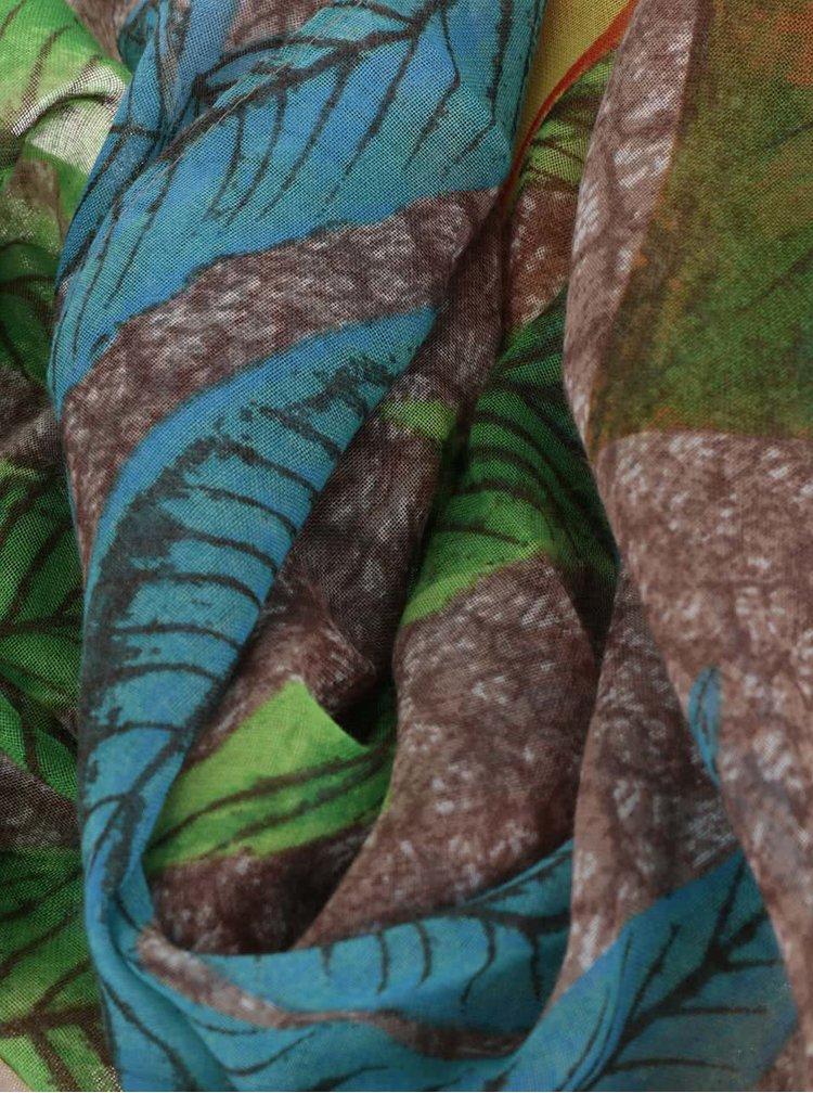Eșarfă maro cu verde Desigual Rectangle Mogli