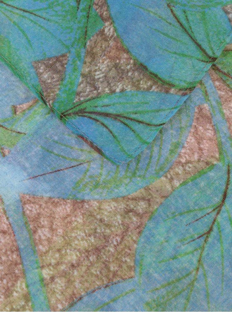 Hnědý šátek s potiskem barevných květů a listů Desigual Rectangle Mogli