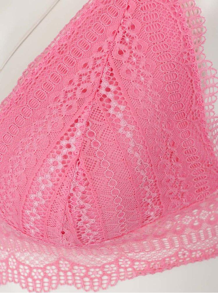 Růžový krajkový set podprsenky a kalhotek Y.A.S