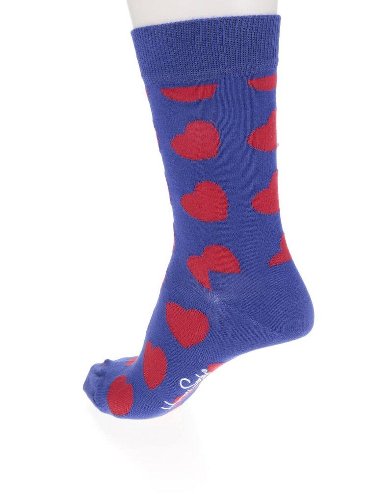 Șosete albastre Happy Socks Diagonal Heart