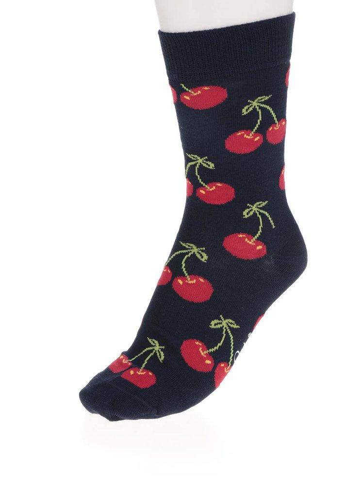 Tmavě modré dámské ponožky s motivem třešní Happy Socks Cherry