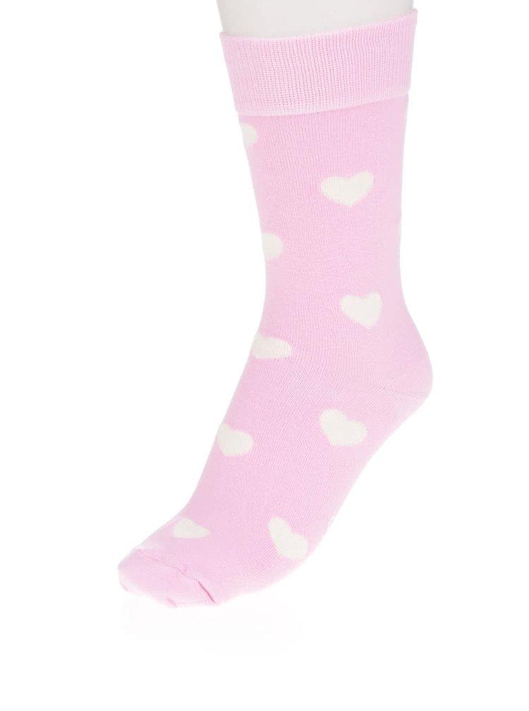 Sosete roz pal Happysocks Heart Sock
