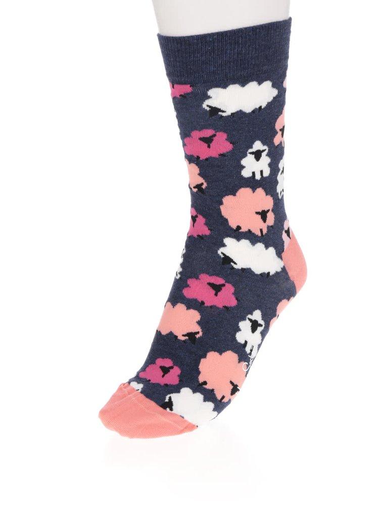 Růžovo-modré dámské ponožky s motivem ovcí Iris Apfel Lamb Sock