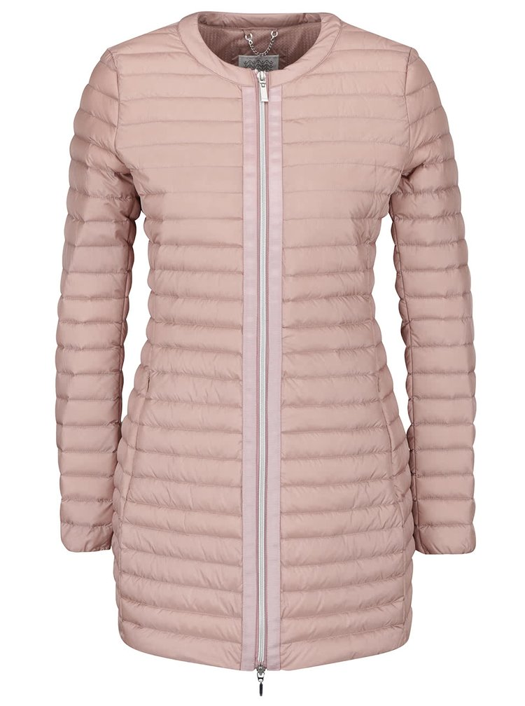 Růžový dámský péřový prošívaný kabát Geox