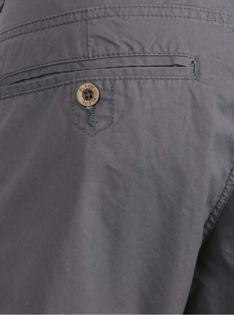Pantaloni chino gri Blend din bumbac