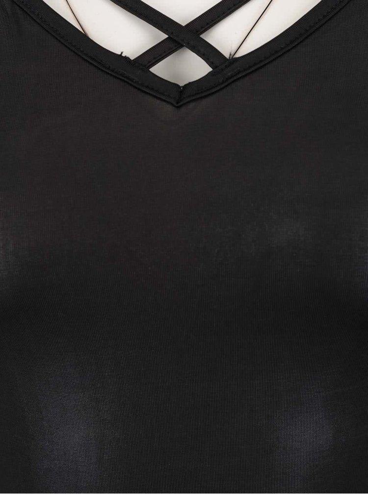 Černé lesklé tílko s úzkými ramínky TALLY WEiJL