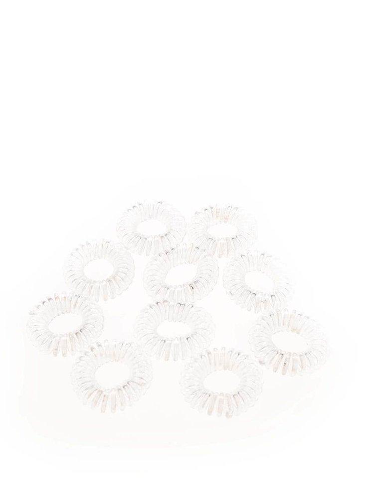 Set elastice de par Pieces Spiral albe