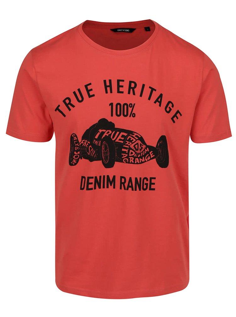 Červené triko s potiskem ONLY & SONS Johnny
