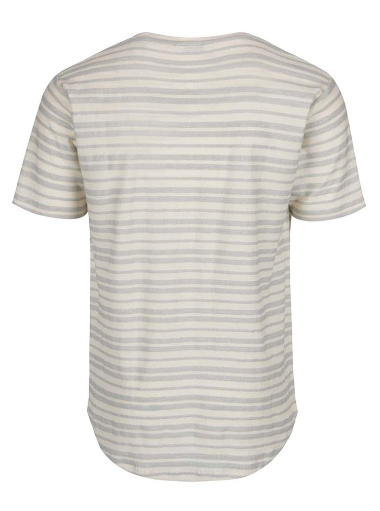 Tricou crem ONLY & SONS Justin din bumbac cu model in dungi