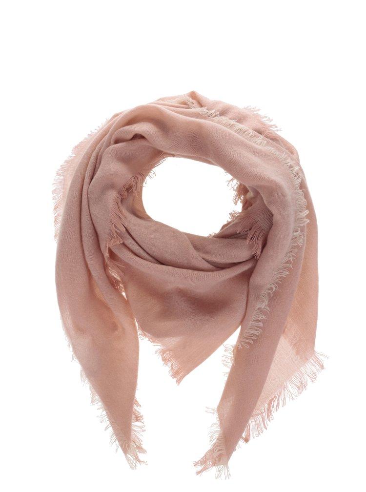 Esarfa roz Piececes Leeann cu terminatie cu franjuri