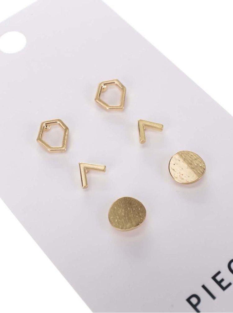 Sada tří párů náušnic ve zlaté barvě Pieces Molla