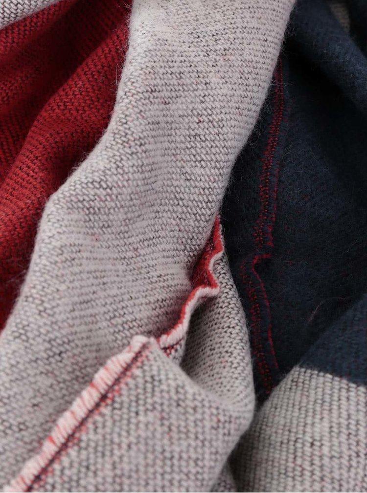 Červeno-modrá vzorovaná šála Pieces Lix