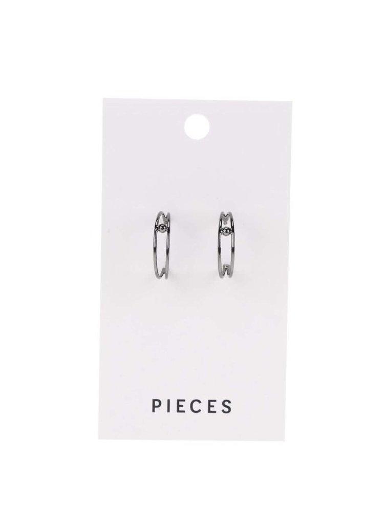 Tmavě šedé kulaté náušnice Pieces Amina