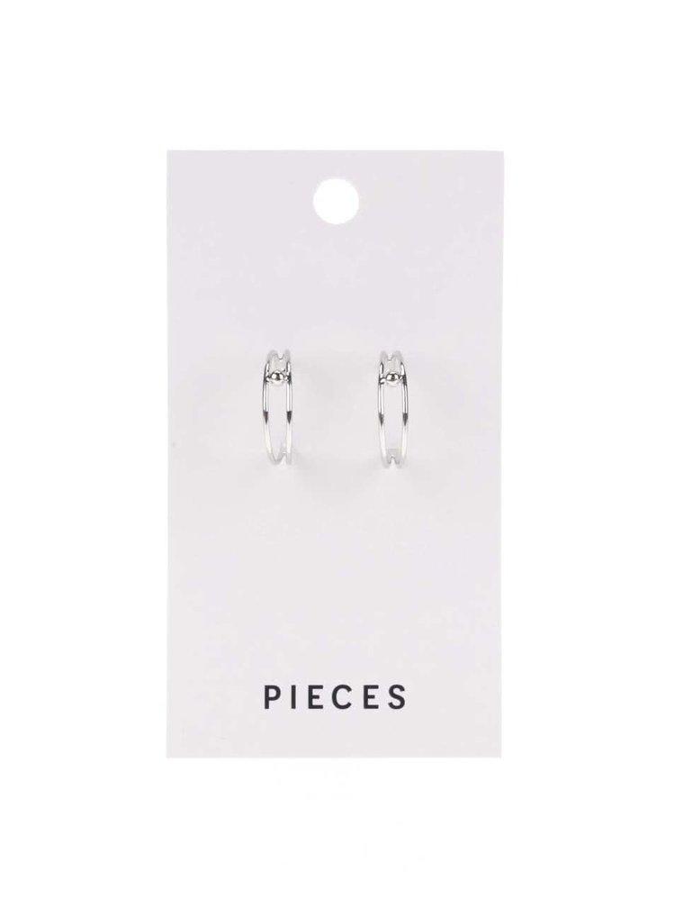 Kulaté náušnice ve stříbrné barvě Pieces Amina