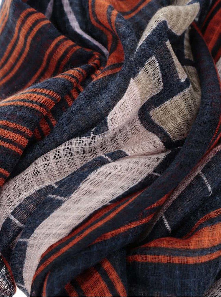 Červeno-modrý šátek Pieces Dippe