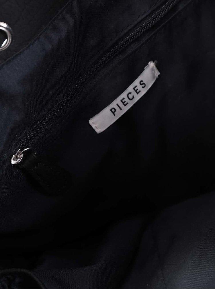 Geantă neagră Pieces Loka cu închidere cu șiret