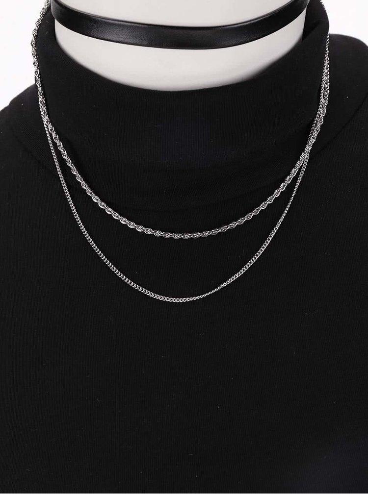 Černý náhrdelník s řetízkem ve stříbrné barvé Pieces Sille