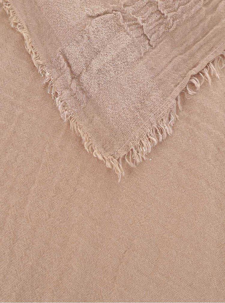 Béžový šátek se třpytivým lemem Pieces Dool