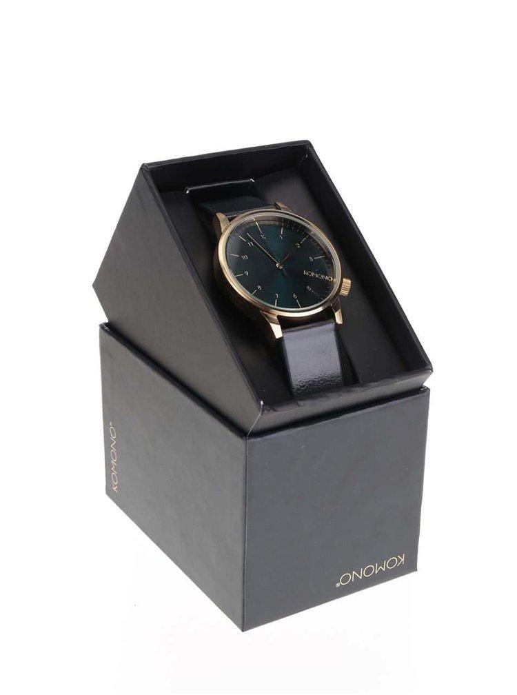 Unisex hodinky ve zlaté barvě s modrým koženým páskem Komono Winston Regal