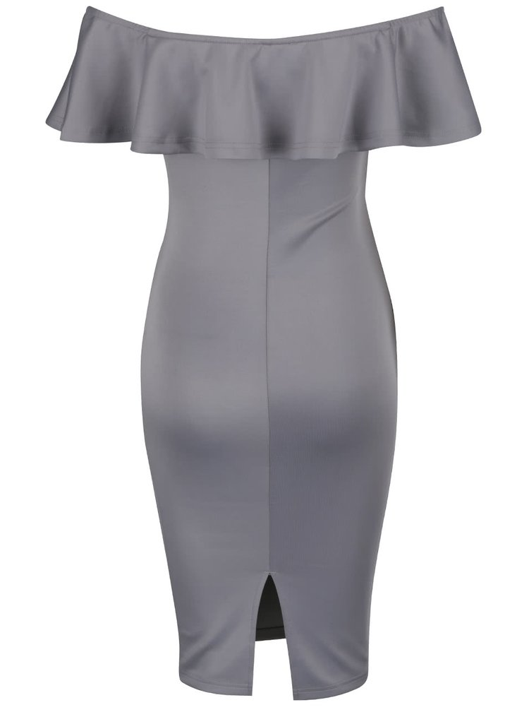 Šedé pouzdrové šaty s odhalenými rameny a volánem AX Paris