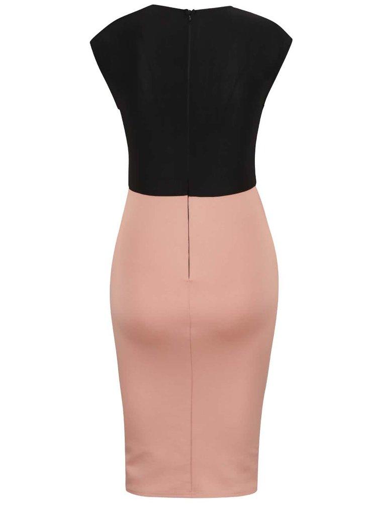 Černo-růžové pouzdrové šaty s překládaným výstřihem AX Paris