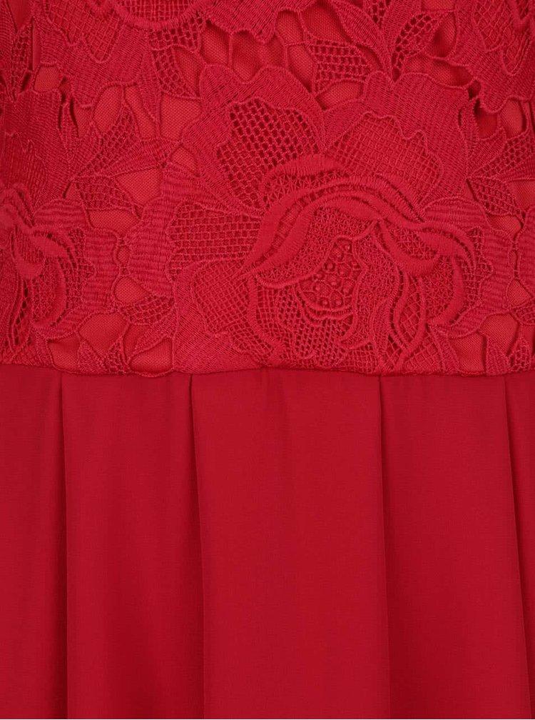 Rochie rosie lunga AX Paris cu decolteu in V