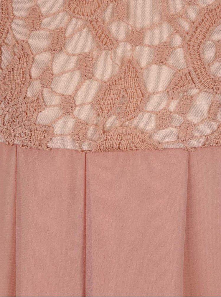 Rochie roz lungă AX Paris cu detaliu din dantelă