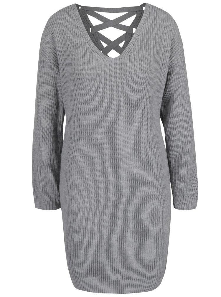 Rochie gri tricotata Miss Selfridge cu siret la spate