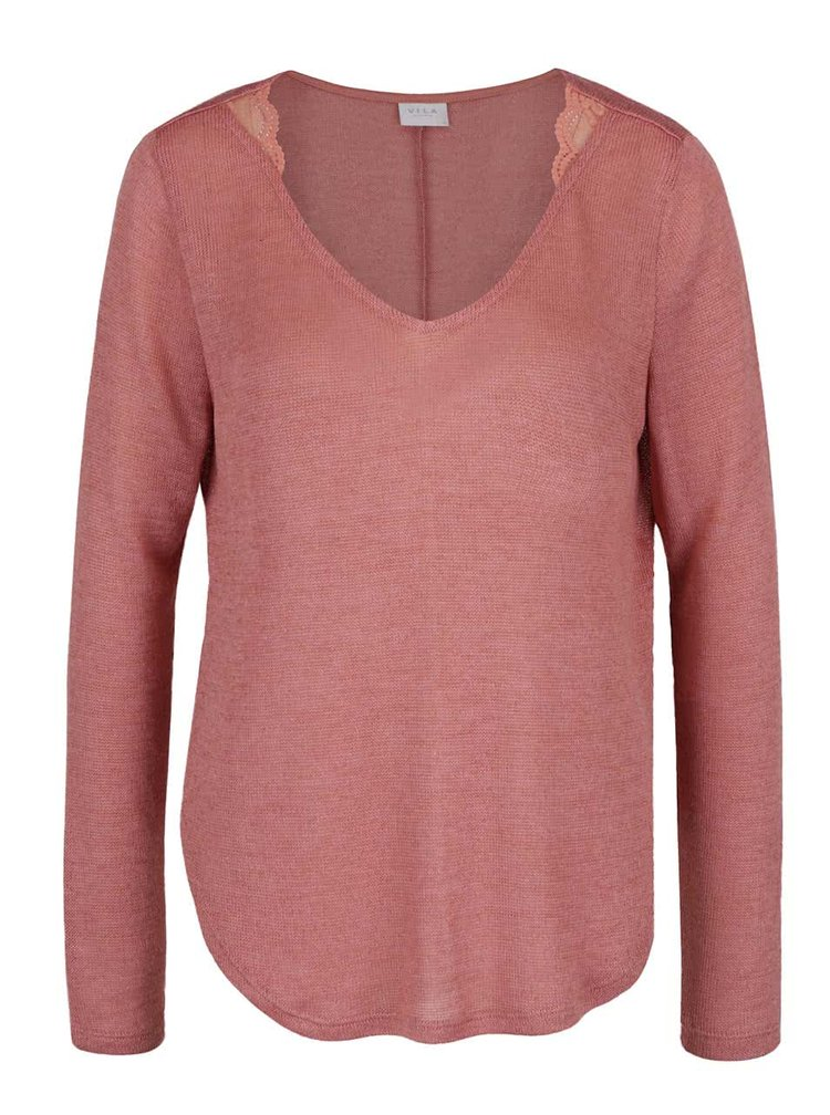 Bluză roz prăfuit VILA Majsa din jerseu subțire