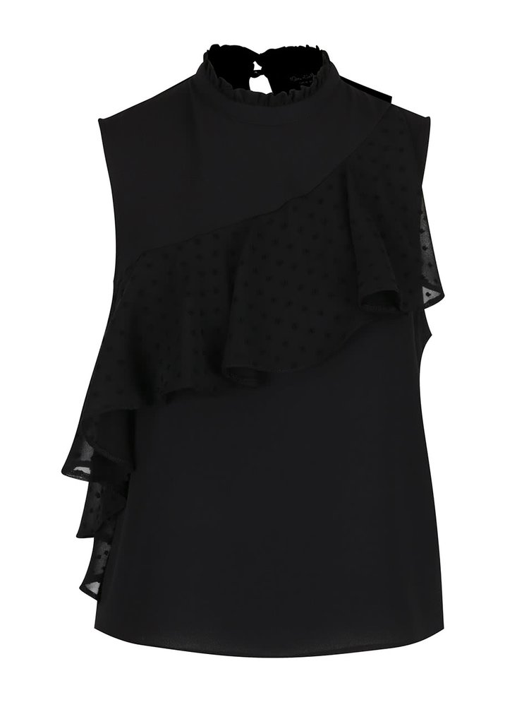 Top negru Miss Selfridge volan decorativ