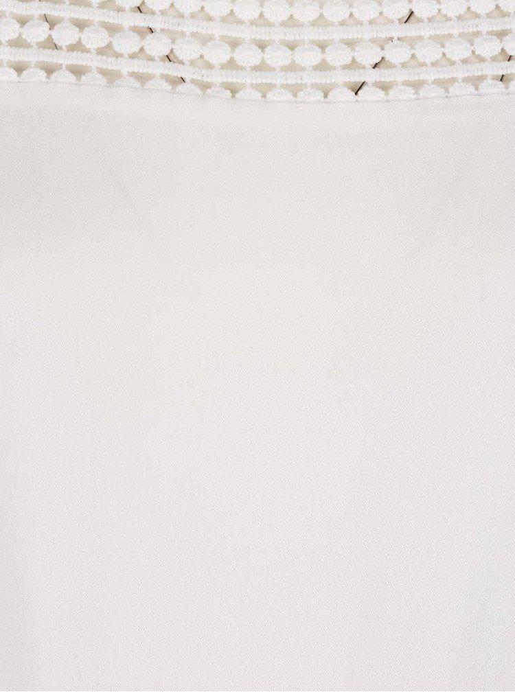 Krémová volná halenka s průsvitnými krajkovými detaily VILA Sommi
