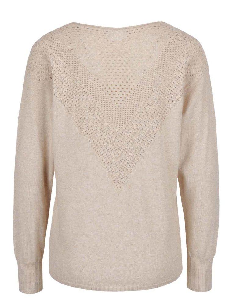 Béžový svetr s jemným perforovaným vzorem VILA Cotana
