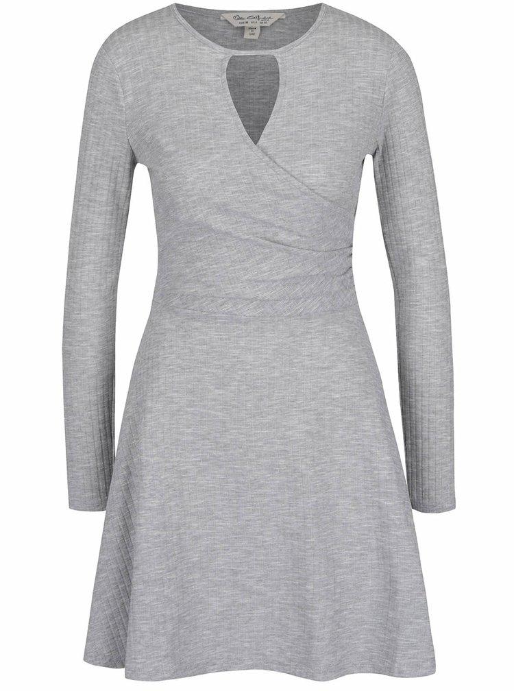 Světle šedé šaty s dlouhým rukávem Miss Selfridge