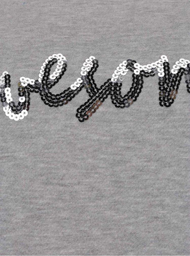 Světle šedá žíhaná mikina s nápisem VERO MODA Gabria