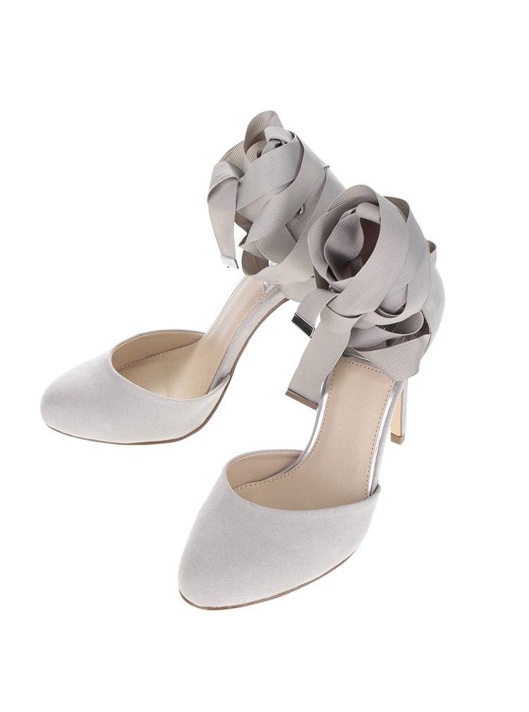 Pantofi gri cu toc si funde Miss Selfridge