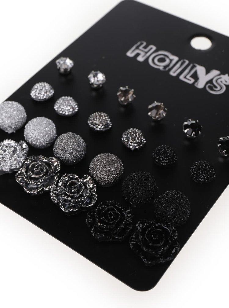 Sada náušnic ve stříbrné, šedé a černé barvě Haily´s Julia Mixy