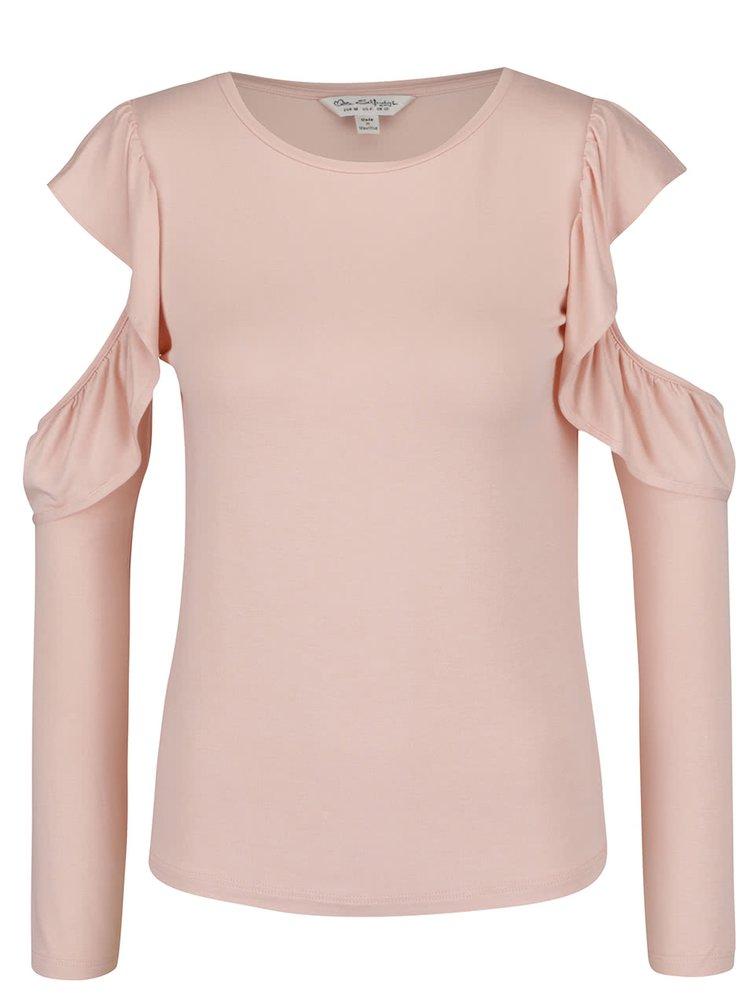 Bluza roz piersica Miss Selfridge cu decupaje la umeri