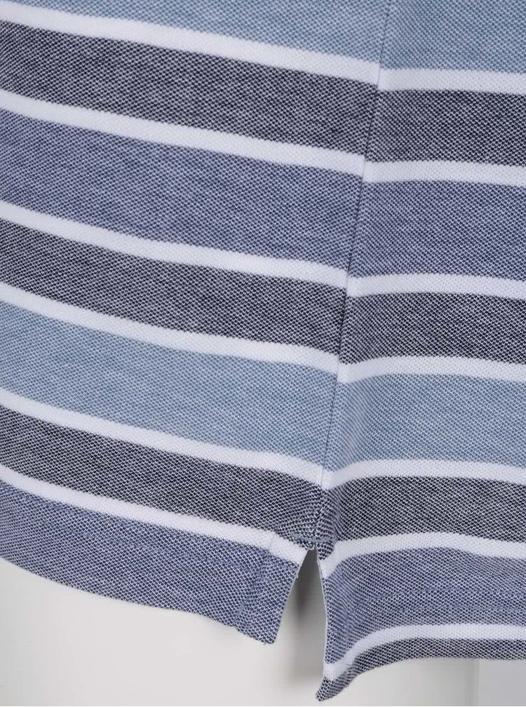 Tricou albastru inchis Original Penguin Birdseye slim fit din bumbac cu model in dungi