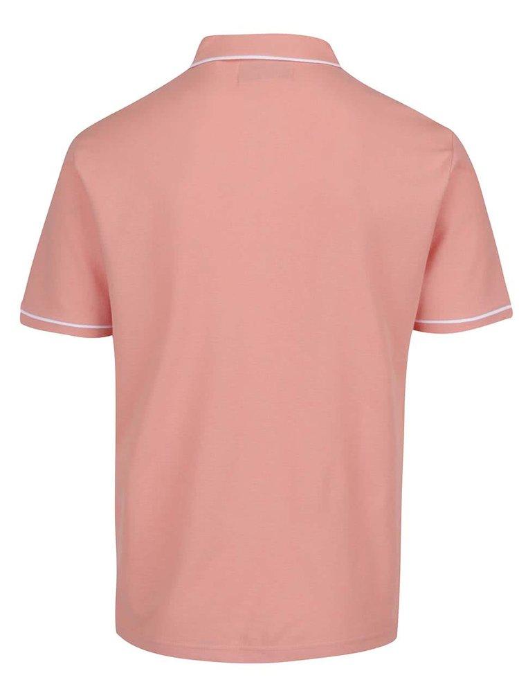 Tricou polo roz Original Penguin Earl slim fit cu buzunar si detalii albe