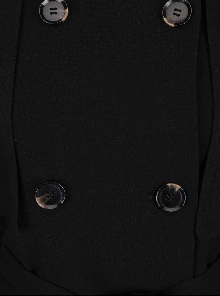 Černý trenčkot s dvouřadým zapínáním a hlubokými kapsami VERO MODA Janna