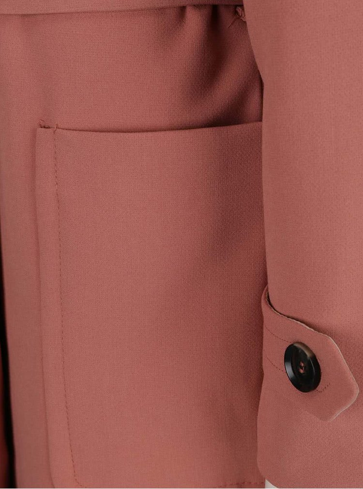 Palton roz somon cu decolteu rotund si cordon VERO MODA Janna