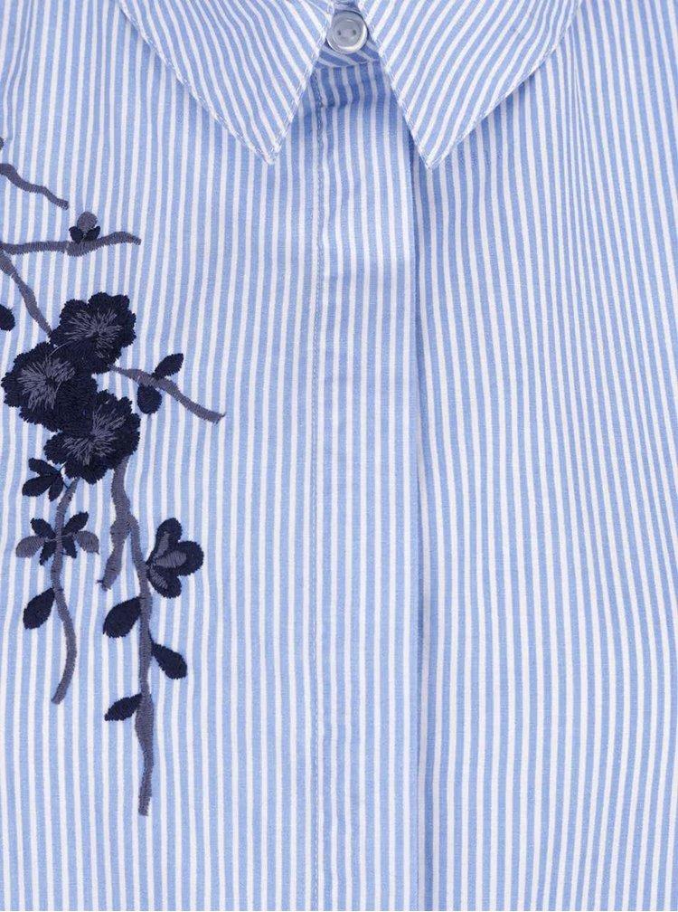 Cămașă albastru & alb VERO MODA Oda din bumbac cu model în dungi și broderie