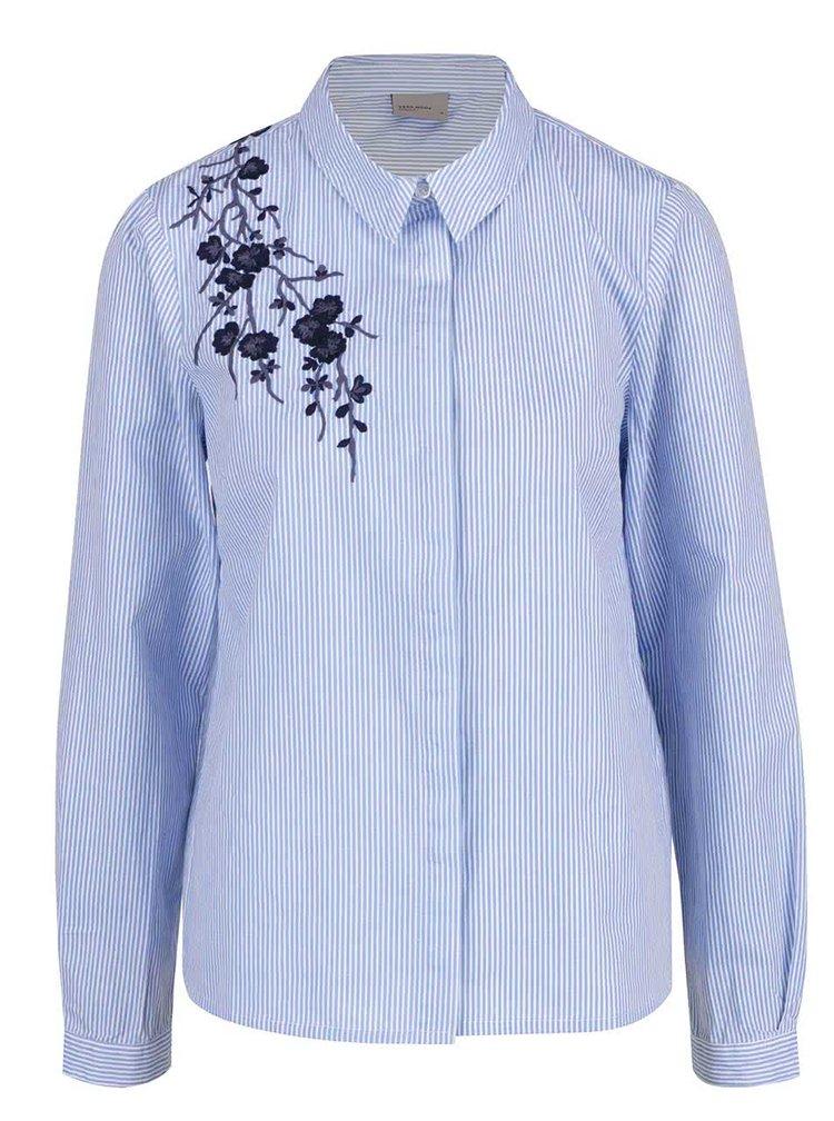 Camasa albastru & alb VERO MODA Oda din bumbac cu model in dungi si broderie