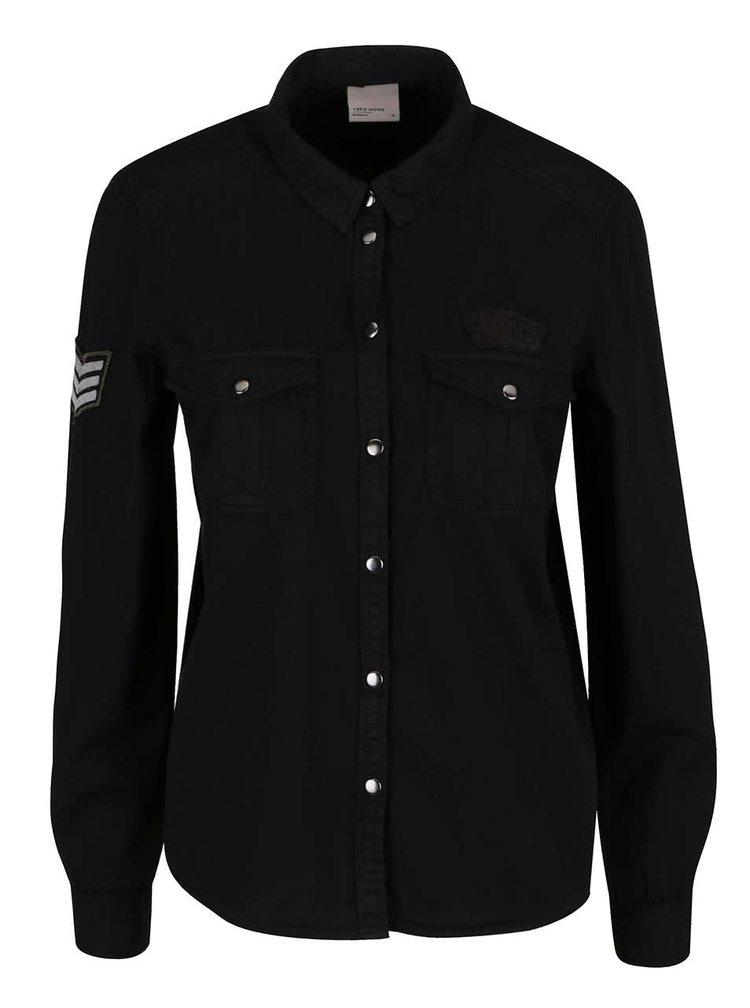 Černá košile s náprsními kapsami VERO MODA Randy