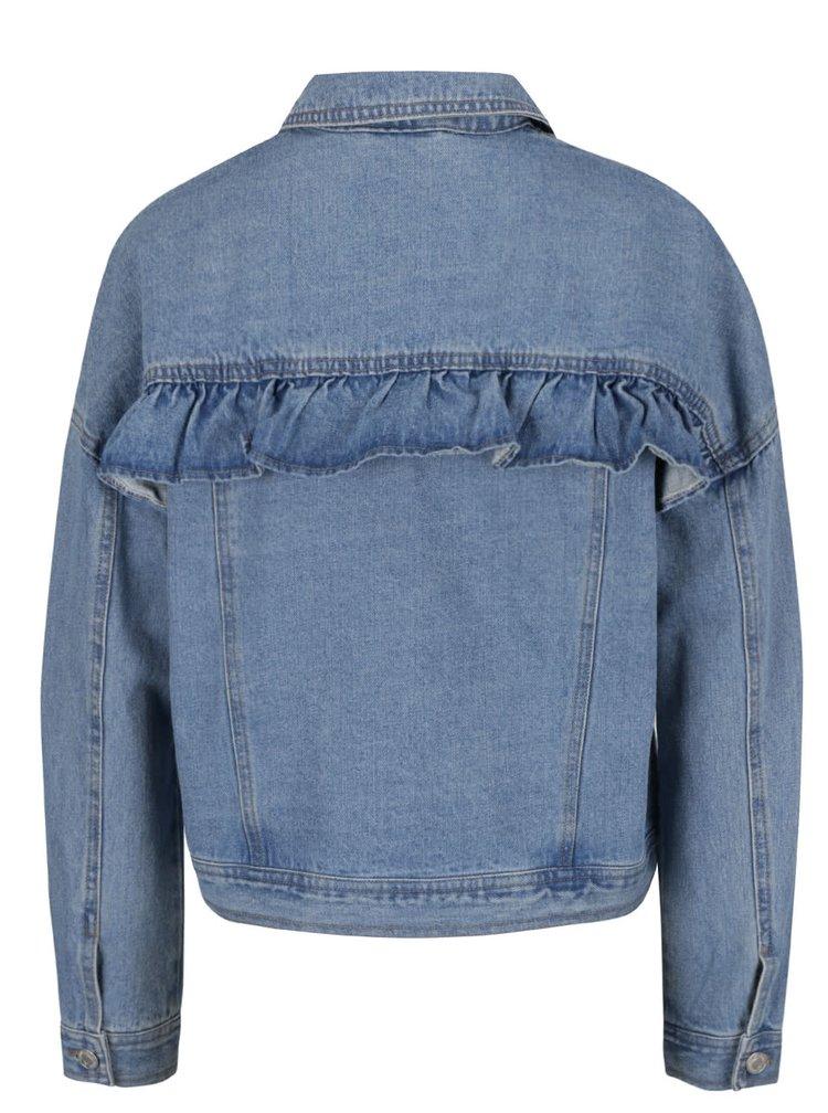 Jacheta albastru deschis din denim VERO MODA Olivia cu volan