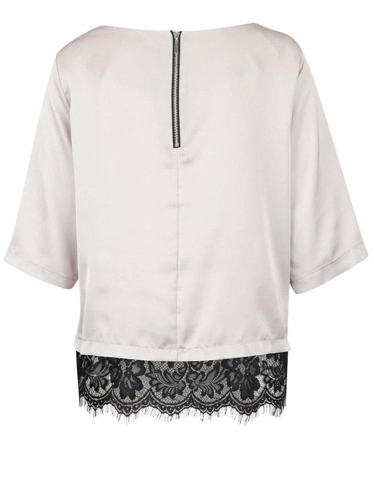 Bluza bej Dorothy Perkins cu detaliu din dantela si aspect lucios