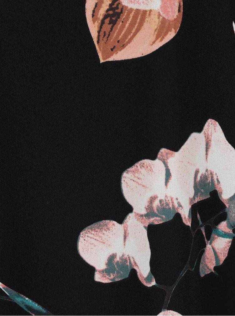 Rochie neagra cu maneci trei sferturi si imprimeu floral VERO MODA Elsie