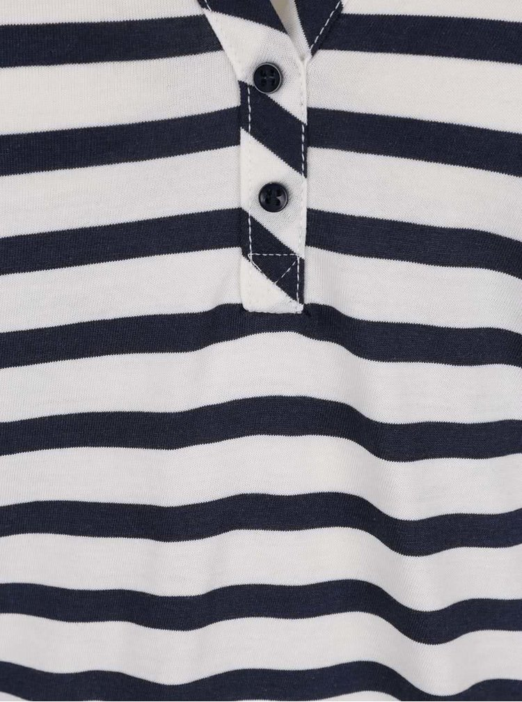 Krémovo-modré pruhované tričko s dlouhým rukávem VERO MODA Maggie