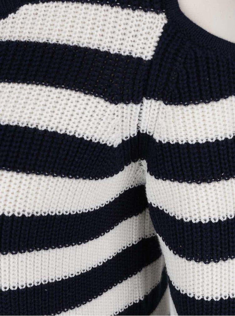 Pulover crem cu albastru cu dungi și decupaje VERO MODA Sailor